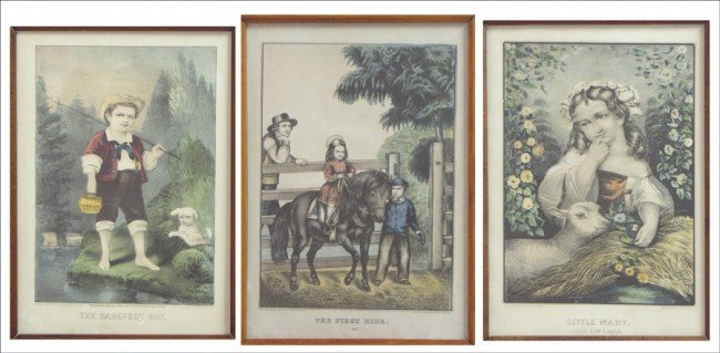 916164: GROUP OF THREE FRAMED PRINTS - CURRIER & IVES.