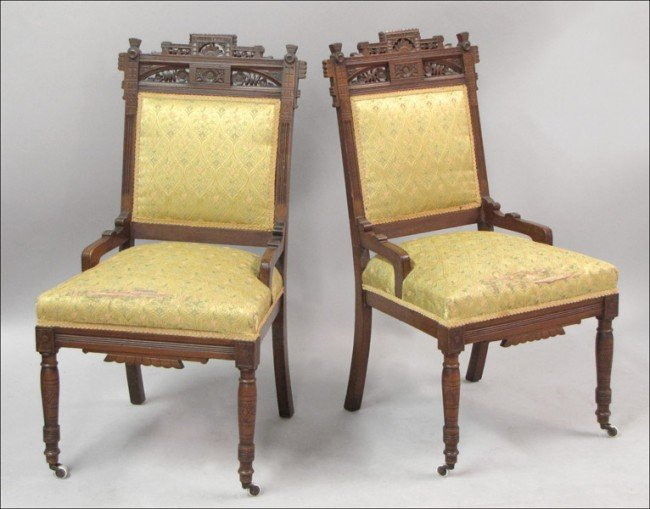 921006: PAIR OF EASTLAKE STYLE CHAIRS.