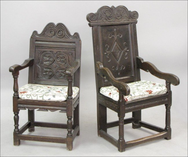 921008: TWO 18TH CENTURY ENGLISH CARVED OAK ARMCHAIRS.