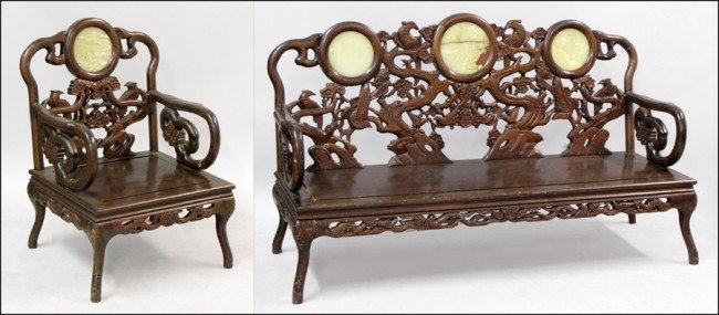 921010: CHINESE CARVED WOOD ARMCHAIR AND BENCH.