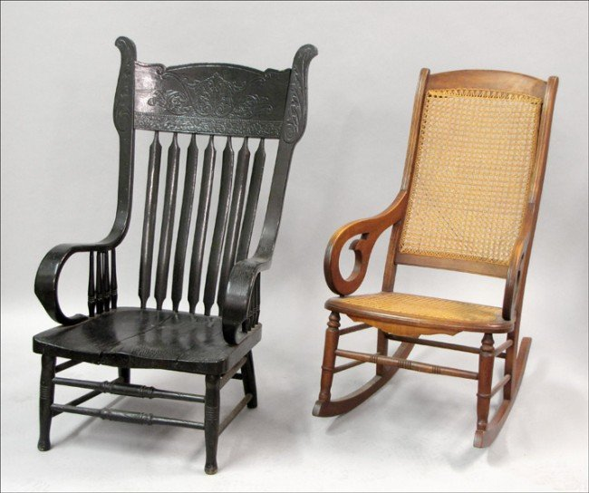 921022: VICTORIAN PAINTED AND CARVED ARMCHAIR.
