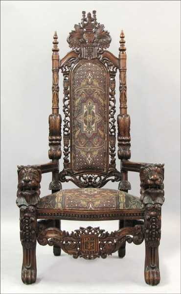 - 921029: GERMAN CARVED OAK THRONE CHAIR.