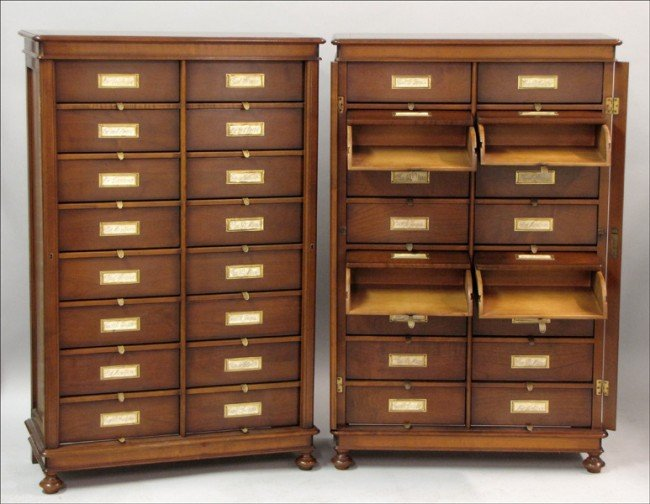 921033: PAIR OF ASSI D'ASOLO MAHOGANY DOCUMENT CABINETS