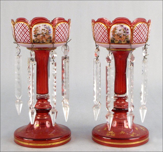 922040: PAIR OF GILT CUT-TO-CLEAR SOLAR LAMPS.