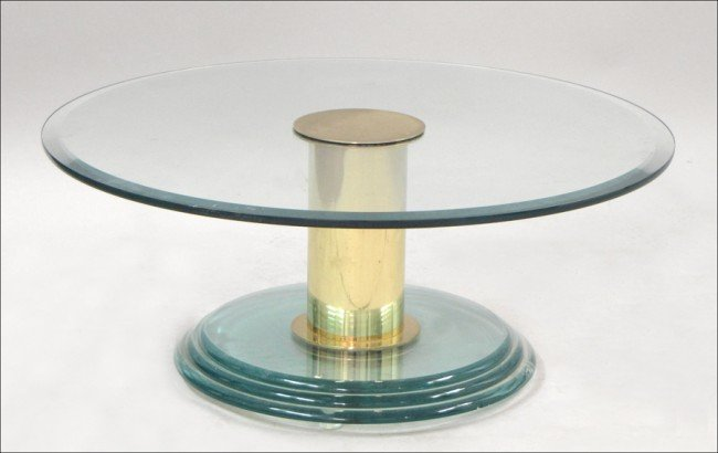 931009: ROUND GLASS TOP COCKTAIL TABLE.