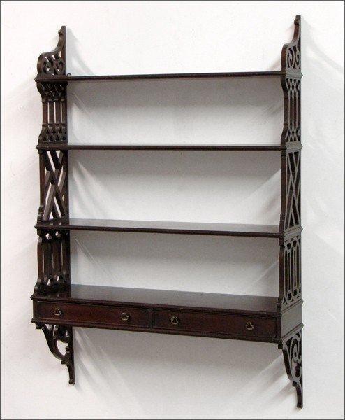 931015: MAHOGANY FOUR-TIER HANGING WALL SHELF.