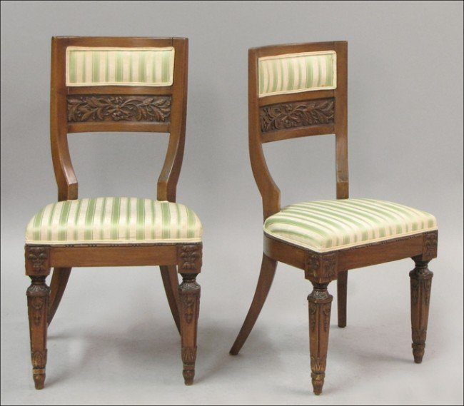 931020: PAIR OF ITALIAN CARVED AND UPHOLSTERED WALNUT S