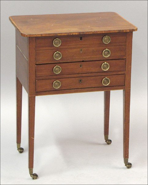 931021: 19TH CENTURY AMERICAN MAHOGANY TWO-DRAWER FLIP-