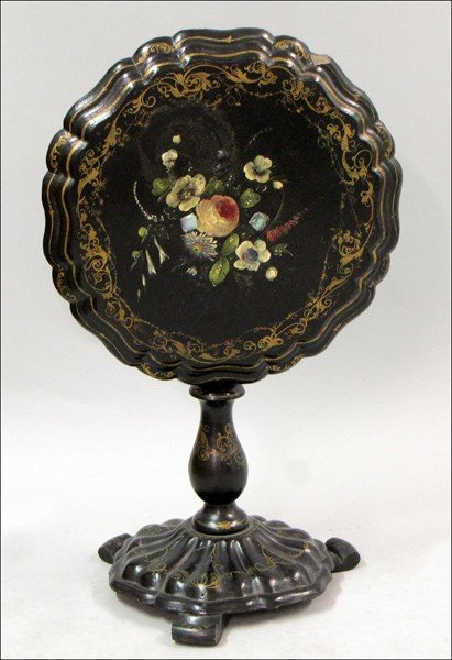 931024: VICTORIAN GILT AND PAINTED PAPIER MACHE TILT TO