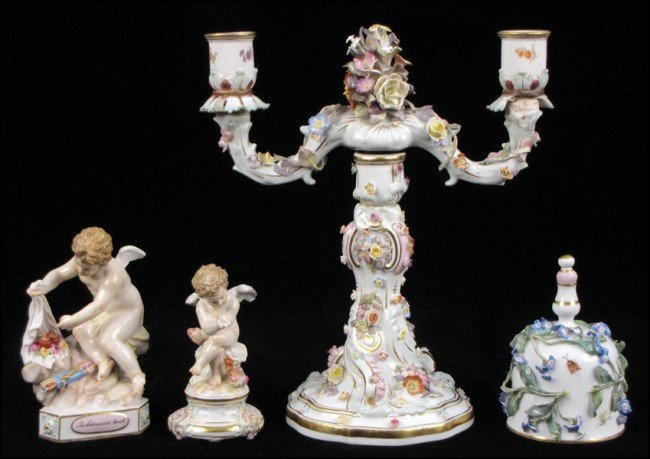 932003: MEISSEN PORCELAIN TWO-LIGHT CANDELABRA.