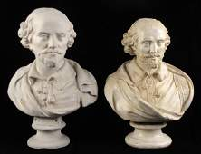 938099: TWO PLASTER BUSTS OF SHAKESPEARE.