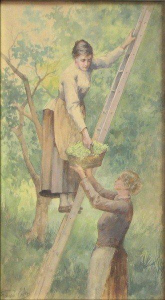 946016: FRANCOIS LAFON (1846-1890) PICKING FLOWERS.