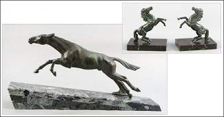 946111 PATINATED BRONZE FIGURE OF A HORSE IN STRIDE