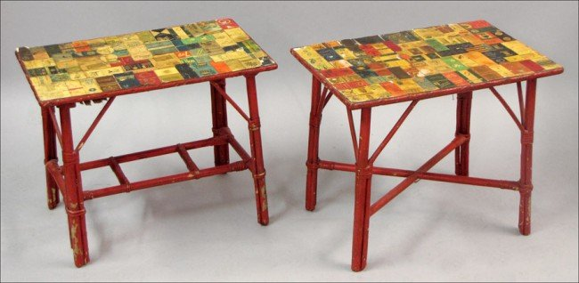 951003: PAIR OF FOLK ART PAINTED BAMBOO SIDE TABLES.