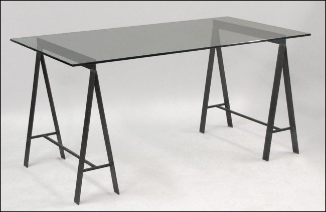 951004: CONTEMPORARY METAL AND GLASS TABLE.