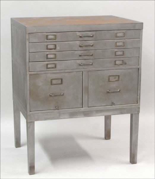 951005: BRUSHED METAL FILE CABINET.