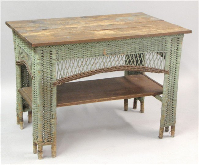 951009: EARLY 20TH CENTURY WICKER AND PINE WORK TABLE.