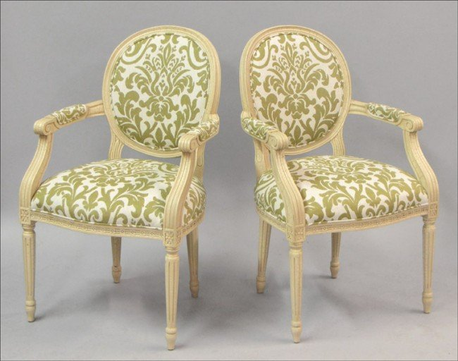 951010: PAIR OF ADAM STYLE PAINTED AND UPHOLSTERED OPEN