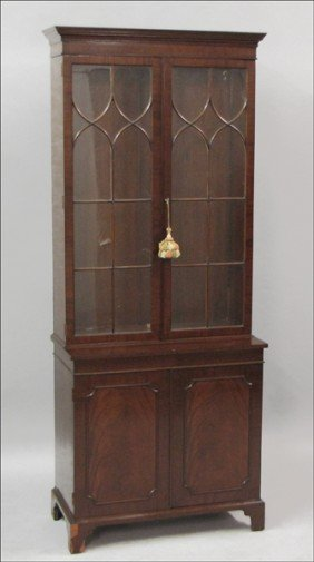 961006: ARTHUR BRETT & SONS MAHOGANY CHINA CABINET.