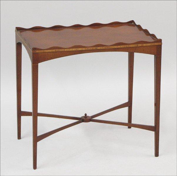 961008: ENGLISH BANDED MAHOGANY SIDE TABLE.