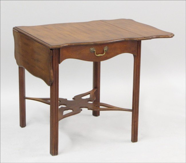 961010: BAKER SINGLE DRAWER DROP-LEAF OCCASIONAL TABLE.