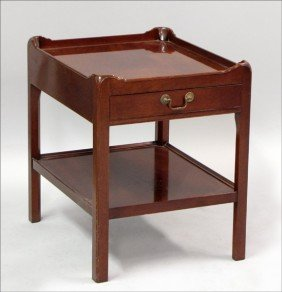 961011: MAHOGANY TWO-TIER SIDE TABLE.