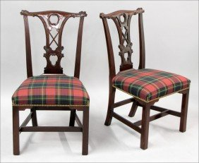 961012: PAIR OF KINDEL GEORGIAN STYLE MAHOGANY SIDE CHA