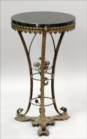 ITALIAN PATINATED METAL AND MARBLE TOP PEDESTAL