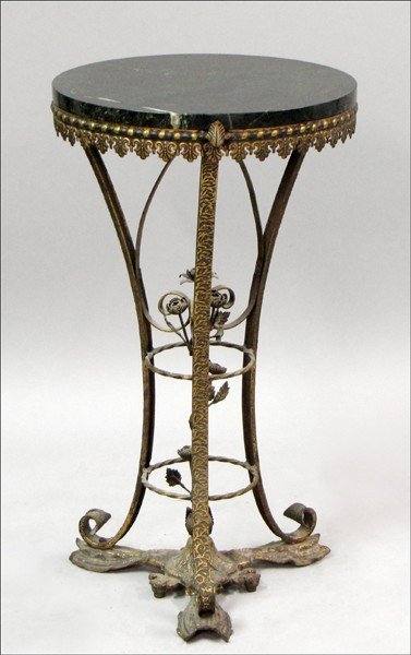 961015: ITALIAN PATINATED METAL AND MARBLE TOP PEDESTAL