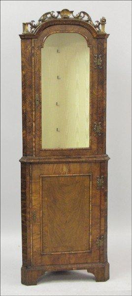 961017: GEORGE III BURLED WALNUT CORNER CUPBOARD.