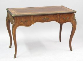 961019: FRENCH PARQUETRY MOUNTED DESK.