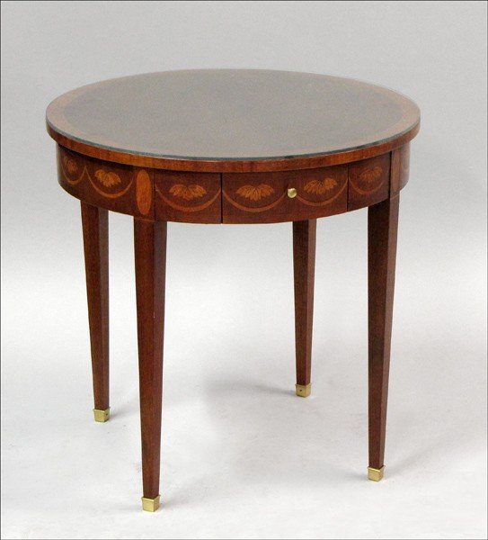 961021: BAKER INLAID MAHOGANY TWO DRAWER OCCASIONAL TAB