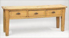 961022: PINE AND SYCAMORE CONSOLE TABLE.