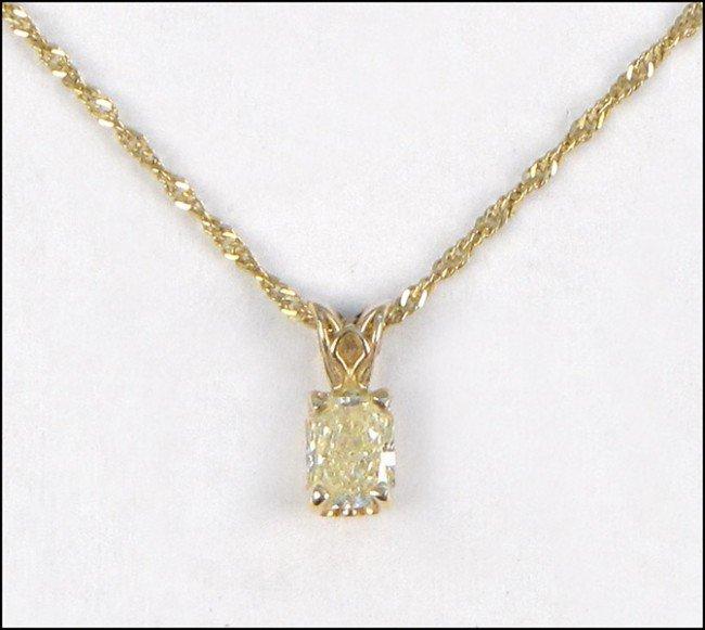 967009: NATURAL CANARY YELLOW DIAMOND PENDANT.