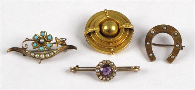 967160: FOUR VICTORIAN GOLD FILLED AND SEMI-PRECIOUS ST
