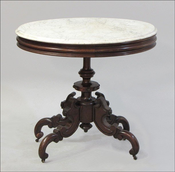 971004: EASTLAKE MARBLE TOP OCCASIONAL TABLE.