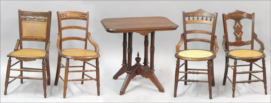 971010: GROUP OF FOUR EASTLAKE STYLE CANED SIDE CHAIRS.