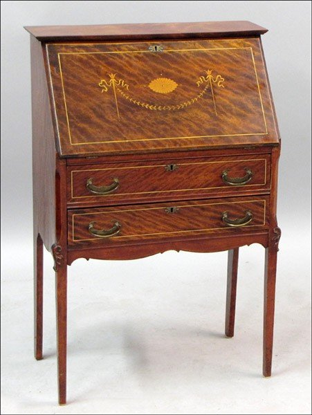 971015: FRENCH MARQUETRY INLAID SECRETARY.