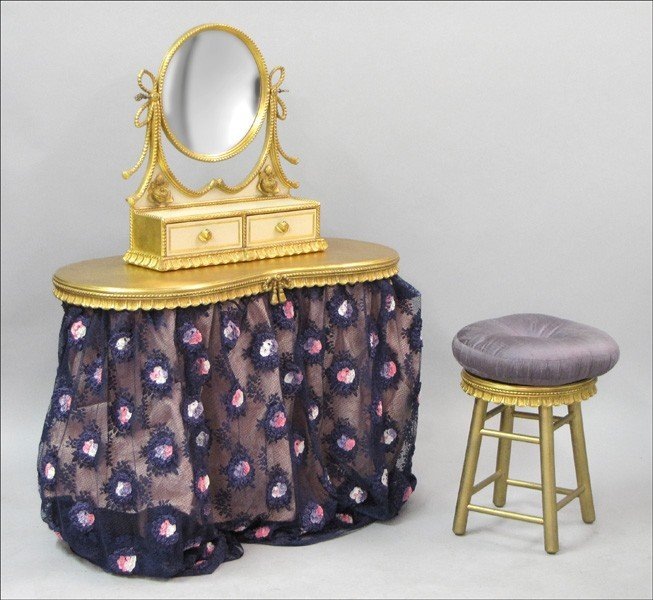 971022: CONTEMPORARY GILTWOOD DRESSING TABLE.