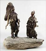 972165 PATINATED BRONZE FIGURAL GROUP OF TWO NATIVE AM