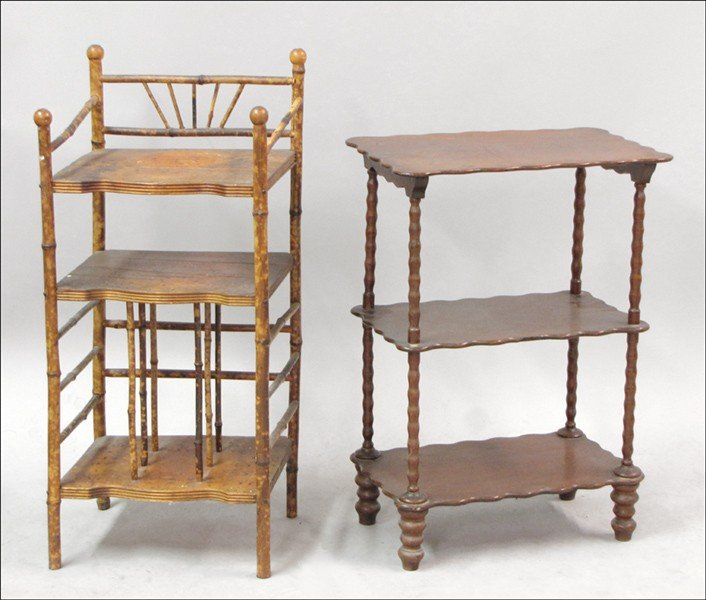 981011: VICTORIAN BAMBOO ETAGERE.