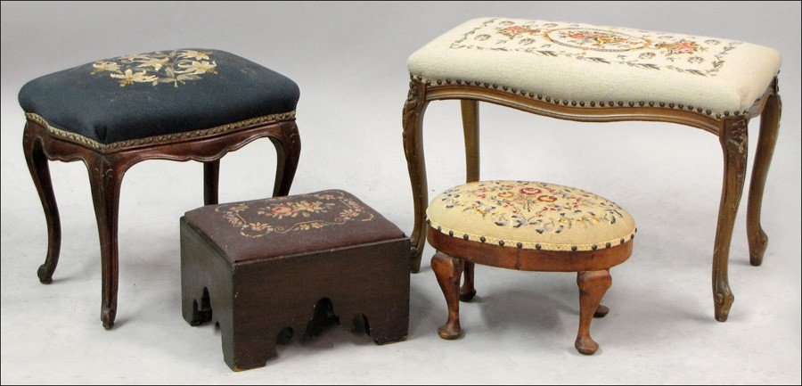 981015: GROUP OF FOUR NEEDLEPOINT UPHOLSTERED BENCHES A