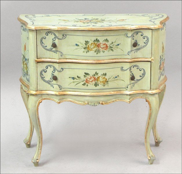 981019: PAINTED AND GILT TWO-DRAWER COMMODE.