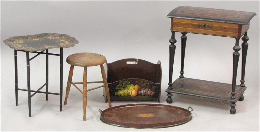 981020: INLAID AND EBONIZED FLIP-TOP SEWING TABLE.
