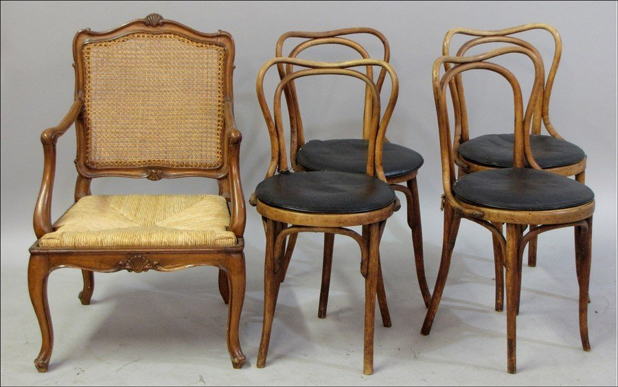 991001: FRENCH PROVINCIAL STYLE CARVED OAK ARMCHAIR.