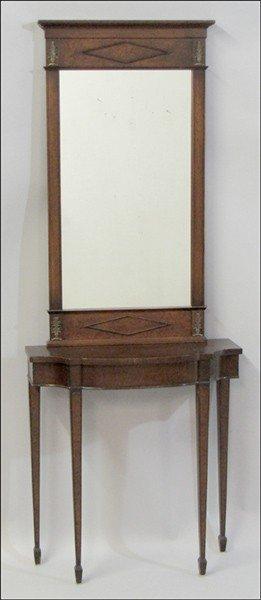 991002: MAHOGANY CONSOLE TABLE, FINE ARTS FURNITURE CO.