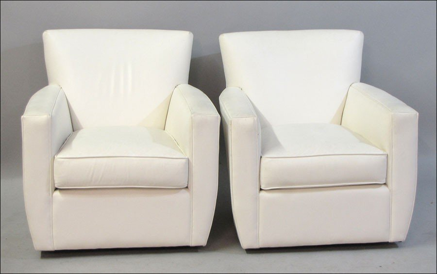 991003: PAIR OF CRATE AND BARREL LEATHER UPHOLSTERED SW