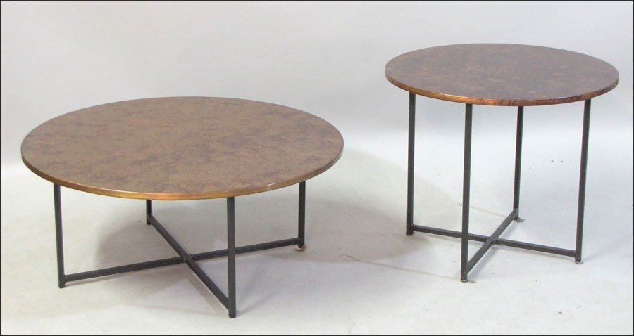991004: TWO CONTEMPORARY METAL COCKTAIL TABLES.