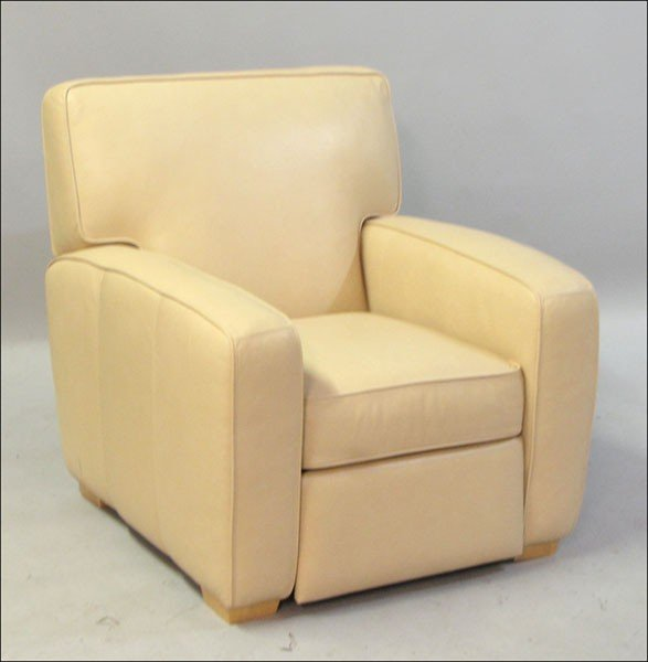 991005: CRATE AND BARREL LEATHER UPHOLSTERED RECLINER.