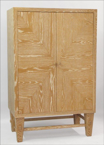 991008: CONTEMPORARY WHITE WASHED CABINET.